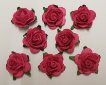 2.5cm FUSCHIA PINK Mulberry Paper Roses (only flower head)